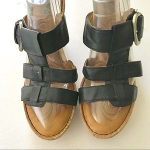 Born Black Leather Straps Wedge Sandals Size 10M